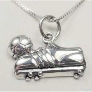 Jewelry - STERLING SILVER SOCCER BALL AND SHOE NECKLACE